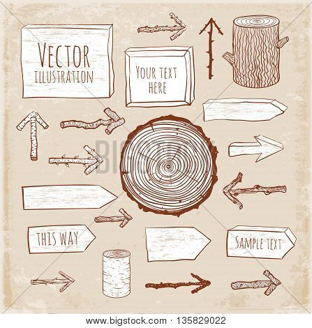 Set of rustic wooden backgrounds and objects hand drawn in sketchy style on vintage background.