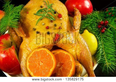 Festive Christmas duck baked with apples and mandarins