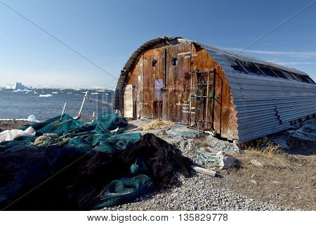 amazing landscape and fisherman depot at Ilulissat, Greenland