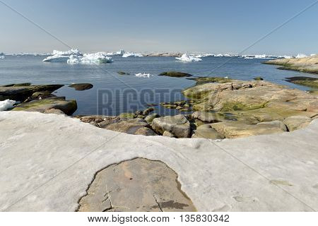 amazing landscape at arctic ocean, Ilulissat town, Greenland