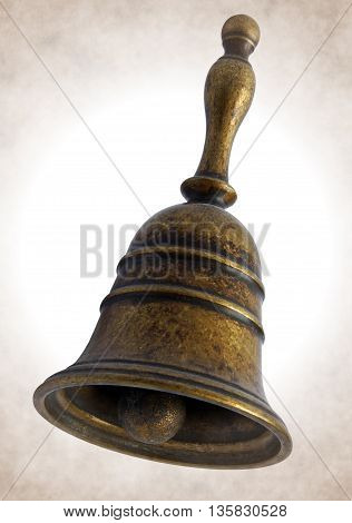 Antique bronze bell isolated on white background - Local sepia toned artwork in retro style
