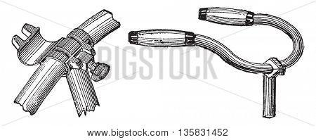 Bearing (type A) in the bottom bracket, vintage engraved illustration. Industrial encyclopedia E.-O. Lami - 1875.