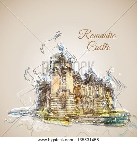 Vector sketch of old romantic castle in France. Imitation of watercolor artwork.