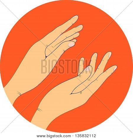 two hands in circle, vector illustration. Applause