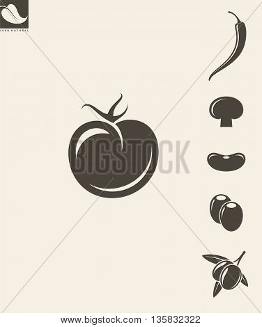 Abstract vegetables on gray background. Set. (EPS)