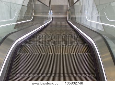 Empty escalator stairs in the Terminal or Mall