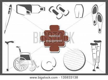 orthopedic equipment. image as a silhouette in a flat design.