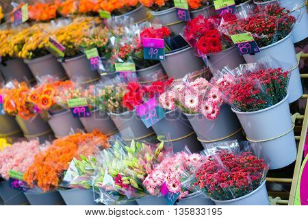 Flowers for sale at flower market outdoors