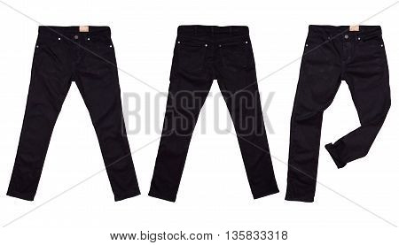 Black jean isolated on white color background