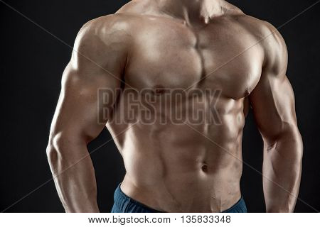 Close-up of man model torso posing showing perfect body