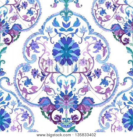Watercolor paisley seamless background.