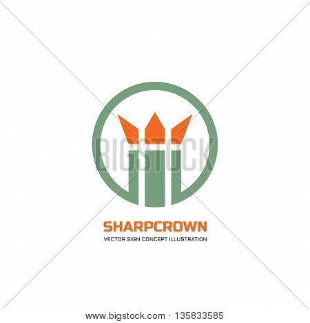 Abstract king crown sign in circle design element - vector logo concept illustration. Abstract flower of plant sprout.