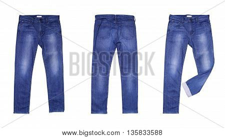 Blue jean isolated on white color background