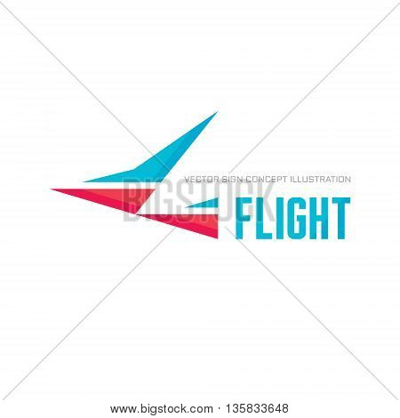 Flight - vector logo concept illustration. Abstract stylized bird logo template. Abstract bird sign. Geometric shapes design elements.