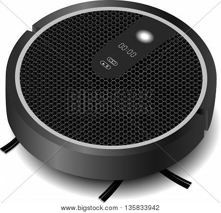 realistic robotic vacuum cleaner gray with a brush