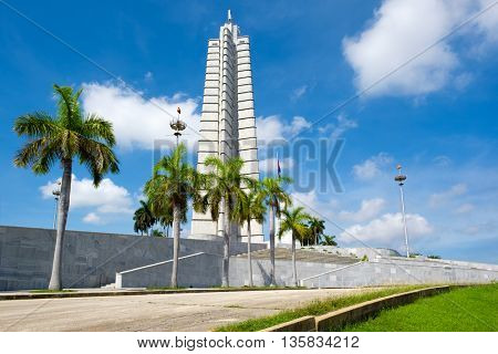 HAVANA,CUBA - JUNE 22,2016 : Monument at  the Revolution Square in Havana on a beautiful summer day