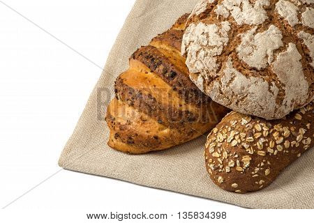 Close up Variety of bread on canvas napkin