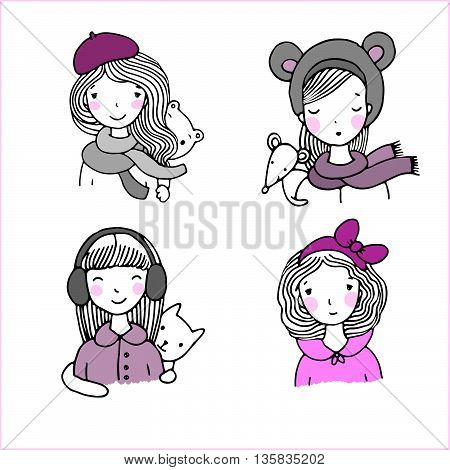Beautiful girls in hats. Hand drawn vector illustration on a white background. Bear, mouse and cat