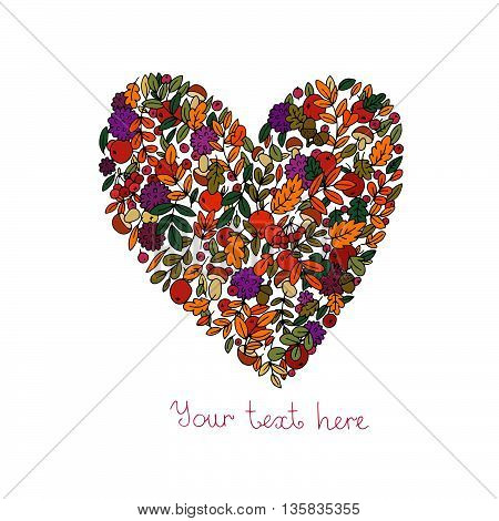 The heart of the autumn leaves, flowers, apples and mushrooms. Hand drawn vector.