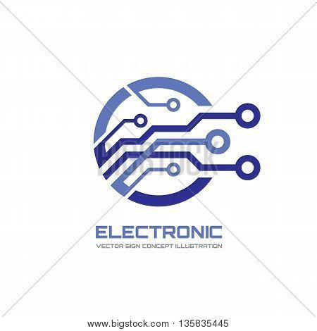 Modern technology - vector logo concept illustration for corporate identity. Digital creative symbol. Abstract chip logo sign. Vector logo template. Design element.