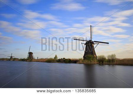Traditional Dutch windmills at Kinderdijk. The Netherlands Long Exposure.