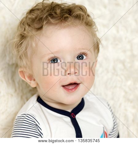 Beautiful Little Boy With Curly Hair