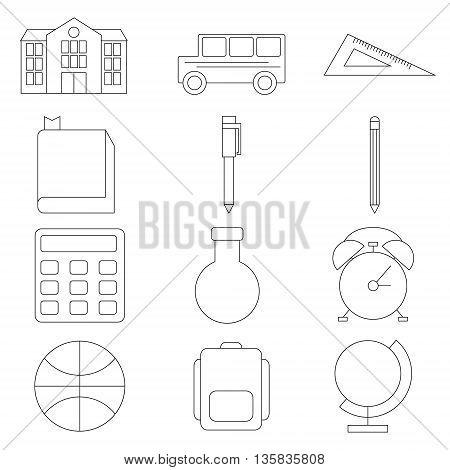 Icon set School and Education. Thin black line. Vector illustration