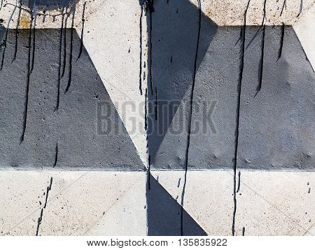 Abstract Concrete, Weathered With Cracks And Scratches. Landscape Perspective Style. Grungy Concrete