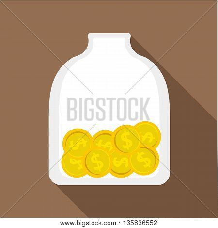 Money piggy bank icon in flat style with long shadow. Savings and money symbol