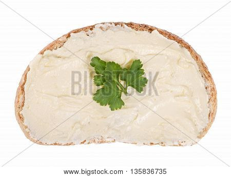 Close up Slice of bread spread with butter