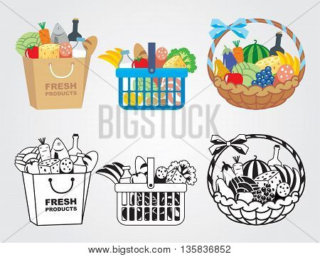 Shopping cart filled with fresh food illustration