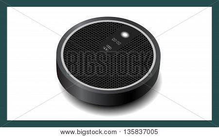 realistic drawing robot vacuum cleaner circular pattern vector