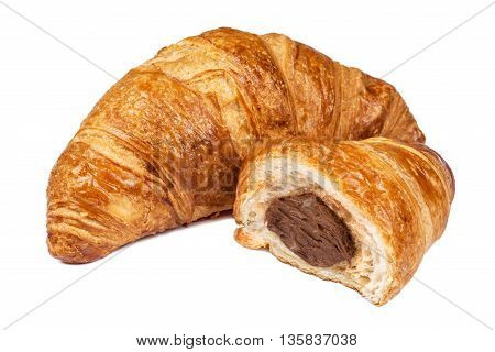 Fresh Croissant with chocolate filling isolated on white background