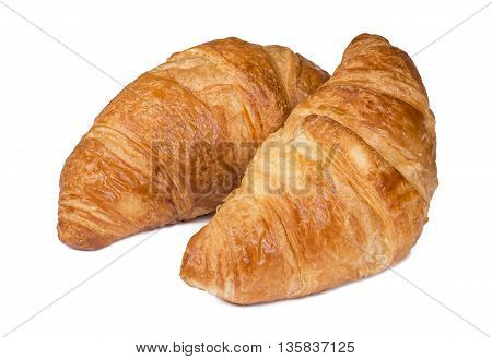 Close up Fresh Croissants isolated on white background