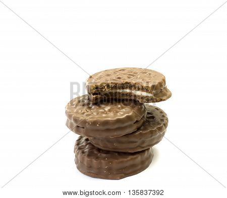 chocolate cookie isolated on a white background