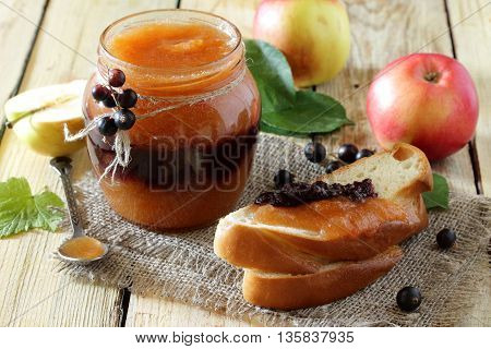 Juice Apple And Currants In A Rustic Style, Healthy Food.