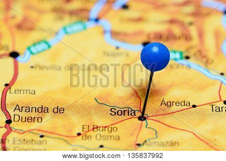 Soria pinned on a map of Spain