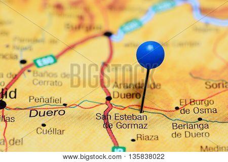 San Esteban de Gormaz pinned on a map of Spain