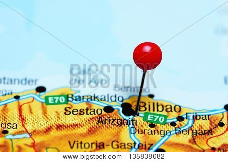 Arizgoiti pinned on a map of Spain
