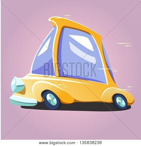 Cartoon yellow rapid car. Vector comic moving vehicle illustrated taxi or fast delivery.