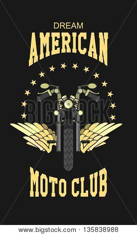 vector motorcycle club emblem retro bike with wings