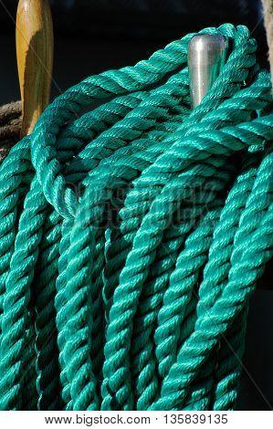 Rigging of a sailing ship ropes and treenail
