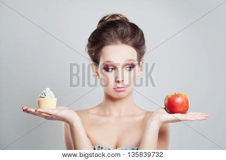 Perfect Girl with Apple Fruit and Sweet Snack