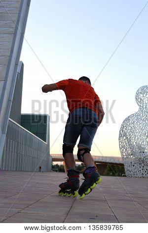 Guy Turning Skating Inline, In Zaragoza, Spain