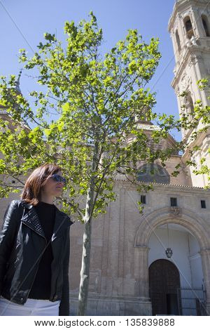 Woman In Leather Jacket Sightseeing Zaragoza, Spain