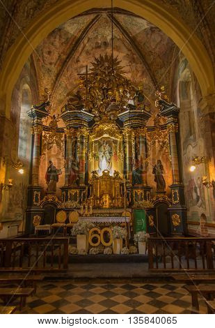 Staniatki Poland - June 9 2016: The historic eight hundred years old convent the nuns of the Benedictine abbey interior of the church.