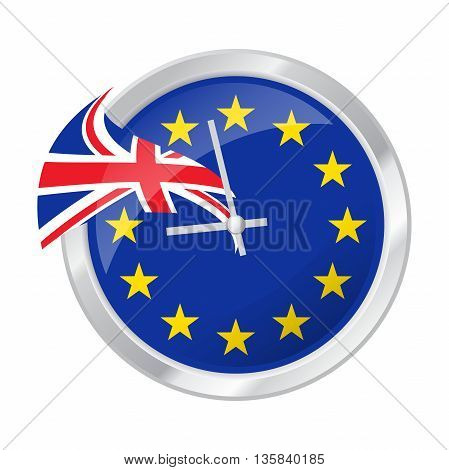 Vector illustration of clock face with EU and UK flags symbolizing BREXIT isolated on white EPS 10