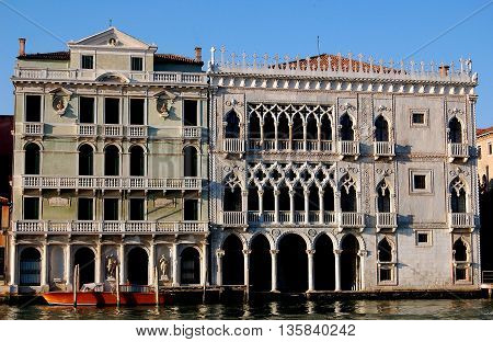 Venice Italy - June 11 2008: The Italianate Gothic Ca d'Oro (Palazzo Santa Sofia) overlooking the Grand Canal was built between 1428-30 for the important Contarini family