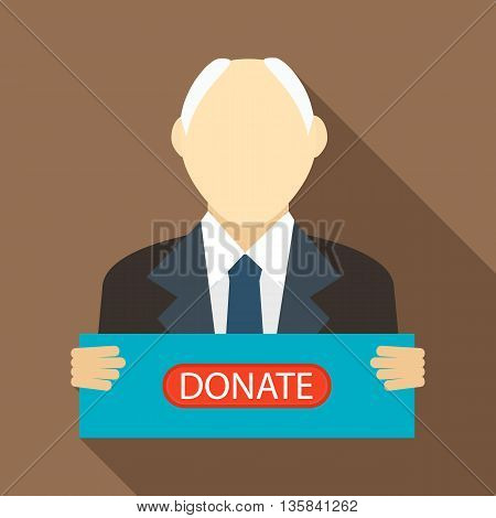 Man with a sign to donate icon in flat style with long shadow. Financial assistance to people symbol