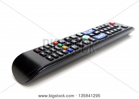 Black TV Remote Control Isolated on White